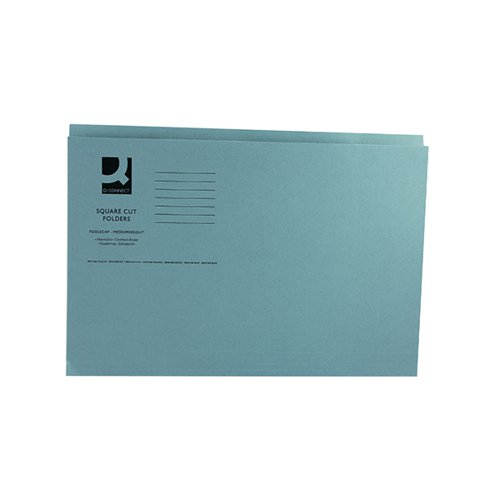 Q-Connect Square Cut Folder Mediumweight 250gsm Foolscap Blue (Pack of 100) KF01191