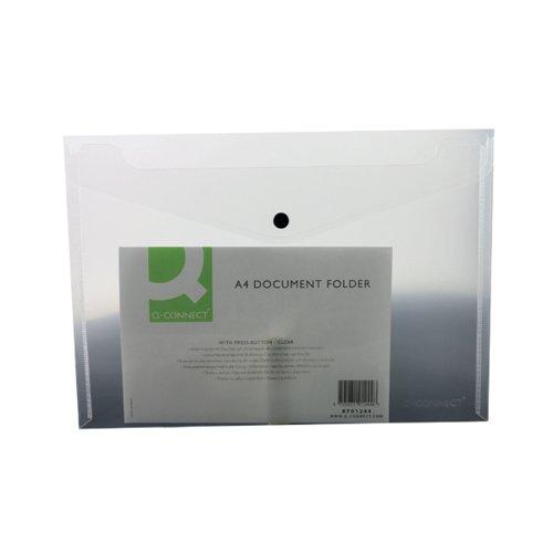 Q-CONNECT PLASTIC A4 CLEAR POPPER FOLDER