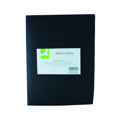 Q-CONNECT 20 POCKET BLACK DISPLAY BOOK