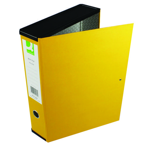 Q-Connect 75mm Box File Foolscap Yellow (Pack of 5) 31819KIN0