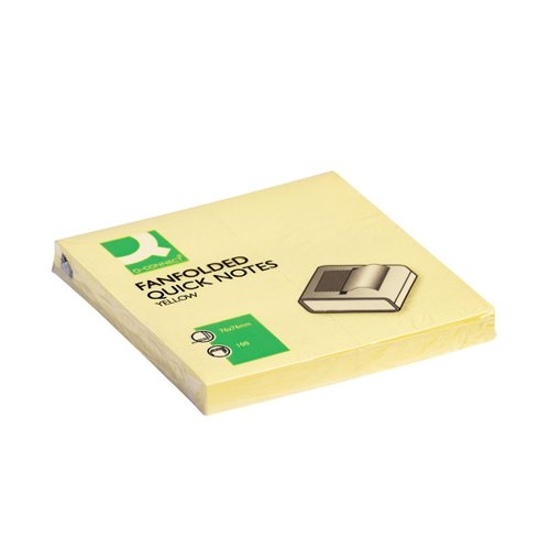 Q-Connect Fanfold Notes 75 x 75mm Yellow (Pack of 12) KF02161