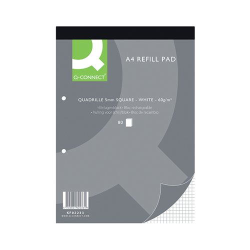 Q-Connect Quadrille Ruled Headbound Refill Pad 160 Pages A4 (Pack of 10) KF02233