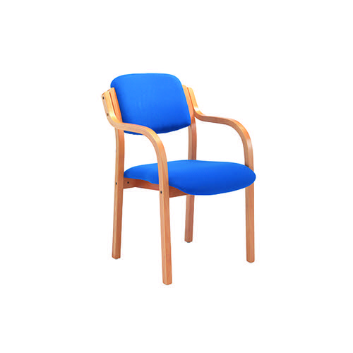 FF Jemini Blue Wood Frm Side Chair Arms