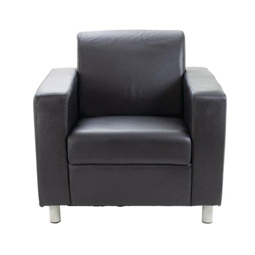Avior Black Leather Faced Executive Reception Arm Chair KF03529