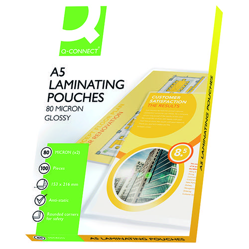 Q-Connect A5 Laminating Pouch 160 Micron (Pack of 100) KF04106