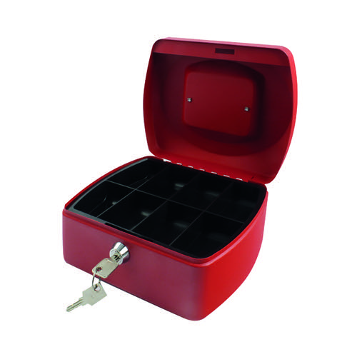 Q-Connect Cash Box 8 Inch Red KF04249