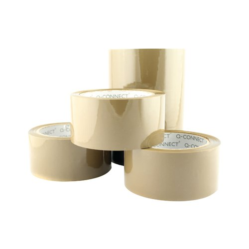 Q-Connect Low Noise Polypropylene Packaging Tape 50mmx66m Brown (Pack of 6) KF04381