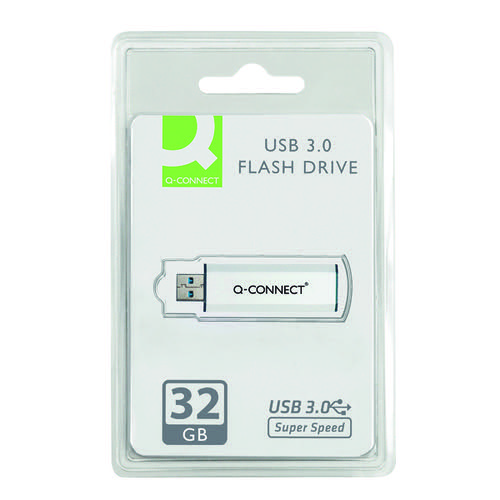 Q-Connect Silver/Black USB 3.0 Slider Flash Drive 32GB