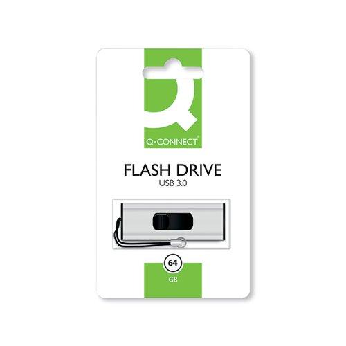 Q-Connect Silver/Black USB 3.0 Slider Flash Drive 64GB
