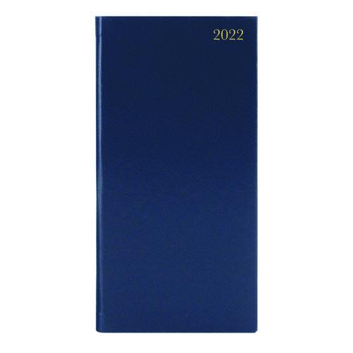 Slim Desk Diary Portrait Week To View Blue 2022 KF1BU22