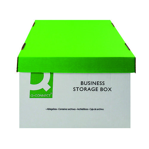 Q-Connect Business Storage Box 335x400x250mm Green and White (Pack of 10) KF21660