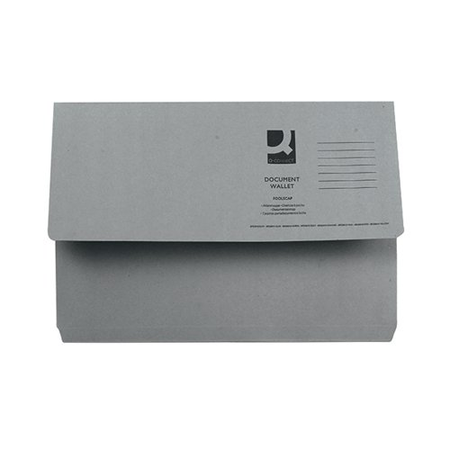Q-Connect Document Wallet Foolscap Grey (Pack of 50) KF23013