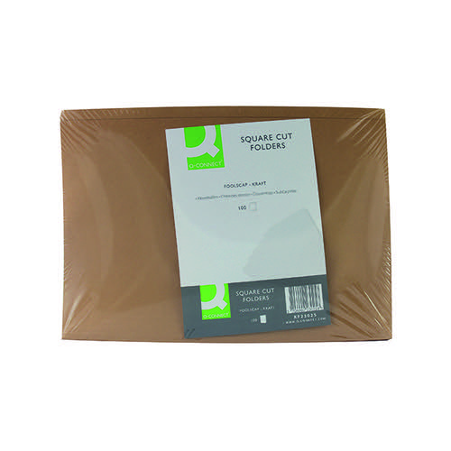 Q-Connect Kraft Square Cut Folder 170gsm Foolscap Buff (Pack of 100) KF23025