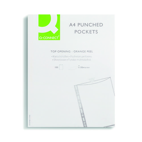 Q-Connect Punched Pocket A4 50 Micron KF24001 Pack of 100