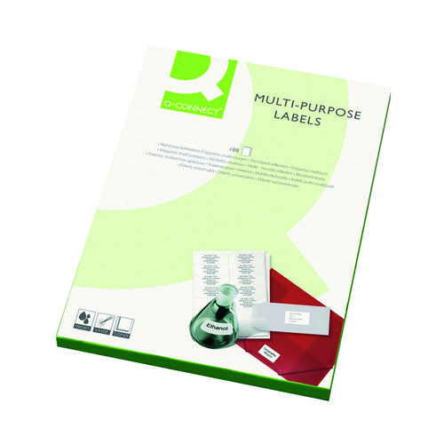 Q-Connect Multipurpose Labels 63.5x46.5mm 18 Per Sheet White (Pack of 1800) KF26052