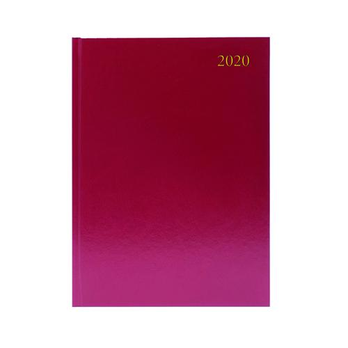 Desk Diary A4 2 Pages Per Day 2020 Burgundy