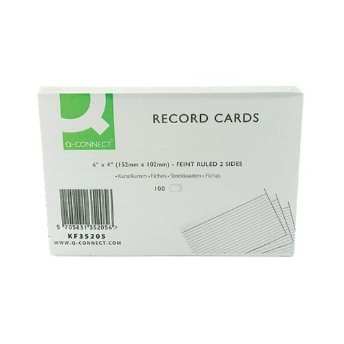 Q-CONNECT WHITE 6X4IN RECORD CARD PK100