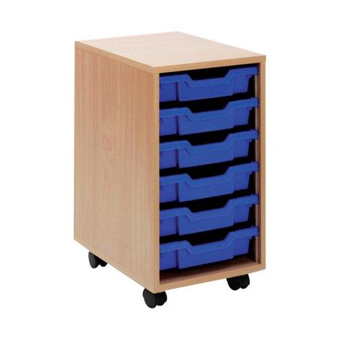 Jemini Mobile Storage Unit 6 Tray Beech KF72338