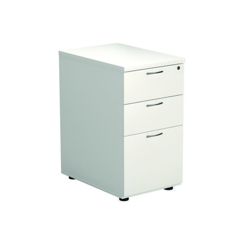 Jemini 3 Drawer Desk High Pedestal W400xD600xH730mm White KF74149