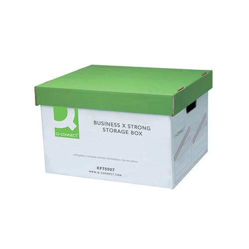 Q-Connect Extra Strong Business Storage Box W327xD387xH250mm Green and White (Pack of 10) KF75007