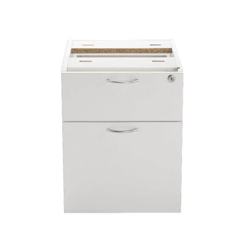 Jemini White 2 Drawer Fixed Pedestal KF78662