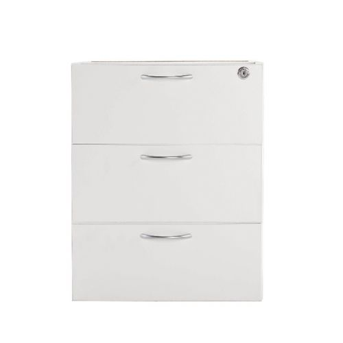 Jemini White 3 Drawer Fixed Pedestal KF78663