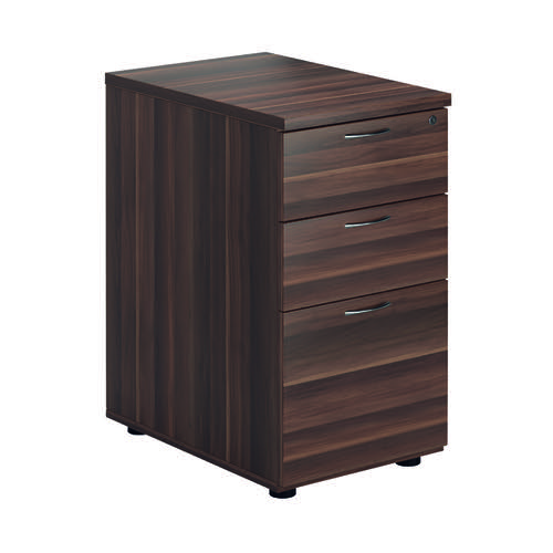Jemini Walnut 3 Drawer Desk High Pedestal D600 KF78948