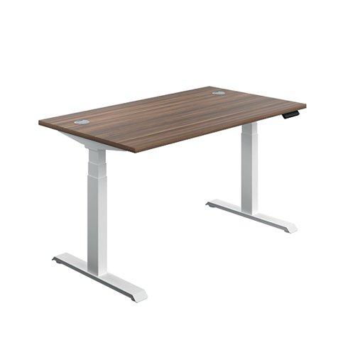 Jemini Sit Stand Desk 1200x800mm Dark Walnut/White KF809753
