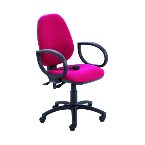 Jemini Intro High Back Posture Chair with Fixed Arms 640x640x990-1160mm Claret KF822790