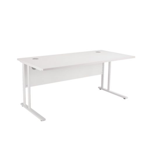 First Rectangular Cantilever Desk 1200mm White with White Leg KF838899