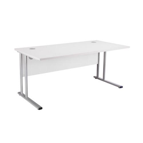 First Rectangular Cantilever Desk 1600mm White KF838935