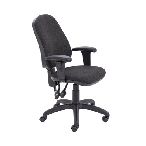 First High Back Operators Chair Charcoal with Adjustable Arms KF839244