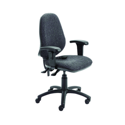 First High Back Posture Chair with Adjustable Arms 640x640x990-1160mm Charcoal KF839326