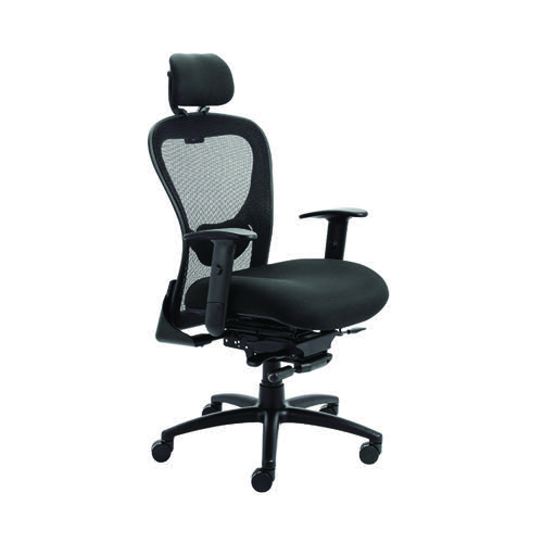 Arista Amber High Back Chair with Built in Headrest 700x700x1165-1285mm Mesh Back Black KF90700