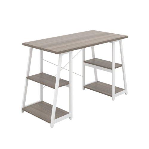Jemini Soho Desk with Angled Shelves Grey Oak/White Leg KF90791