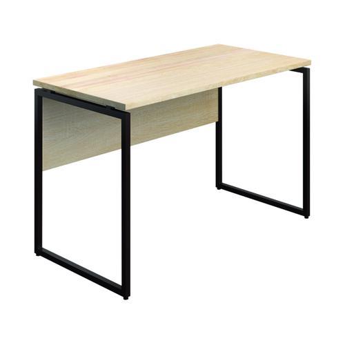 SOHO Computer Desk 1300mm Modesty Panel Oak/Brown Legs SOHODESK3