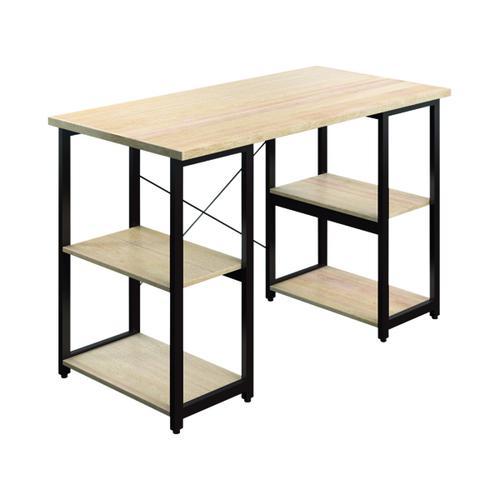 SOHO Computer Desk Oak W1300mm Square Leg Shelves Brown KF90850