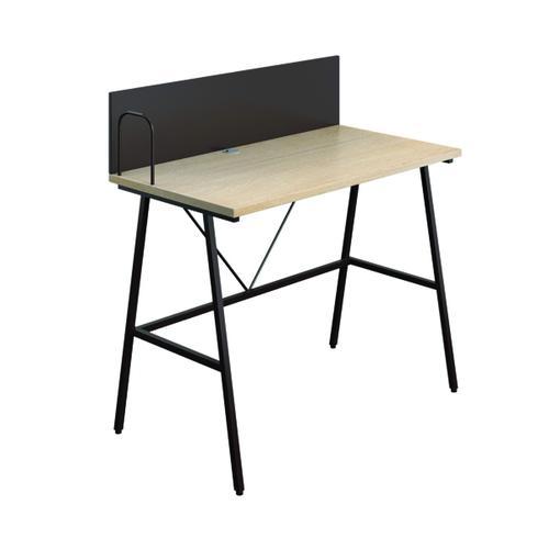 SOHO Computer Desk W1000mm with Backboard Oak/Brown Legs KF90852