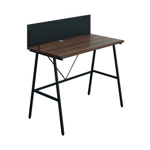 SOHO Computer Desk W1000 with Backboard Walnut/Black Legs KF90853