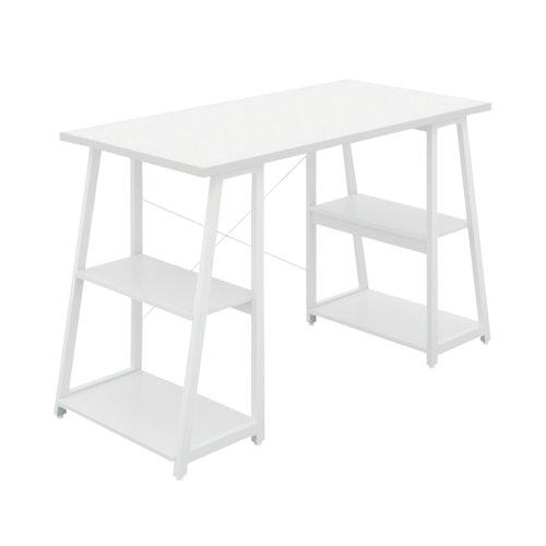 SOHO Computer Desk White W1200mm A-Frame White Leg Shelves KF90860