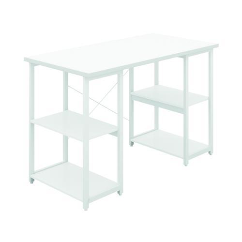 SOHO Computer Desk W1200mm with Shelves White/White Legs KF90861