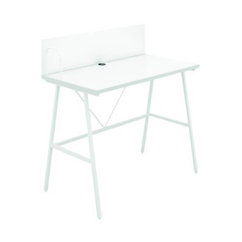 SOHO Computer Desk W1000mm with Backboard White/White Legs KF90862