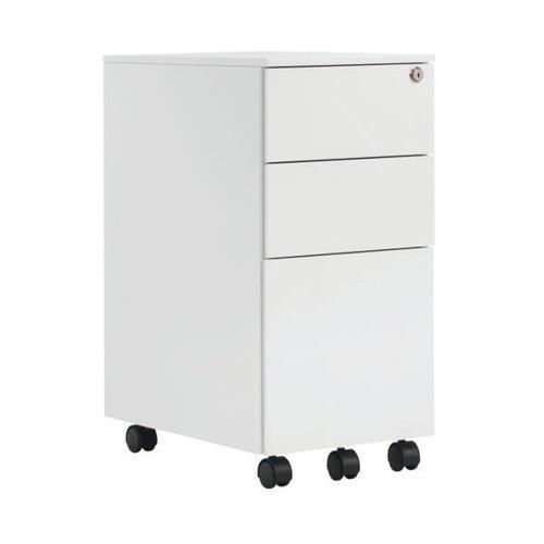 First Steel Slimline Under Desk Pedestal 3 Drawer White