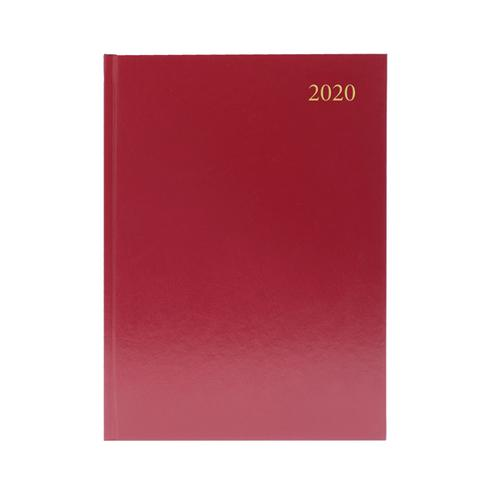2020 Diary A4 Day Per Page Appointment Burgundy
