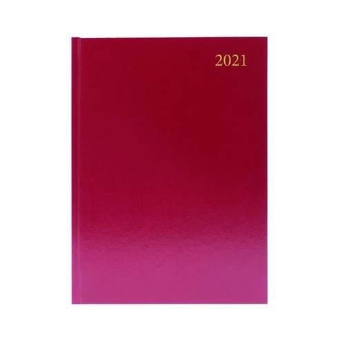 Desk Diary Day Per Page A4 Burgundy 2021