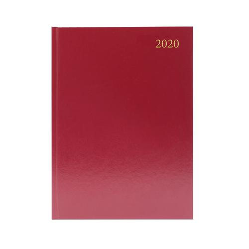 2020 Diary A4 2 Days Per Page Burgundy