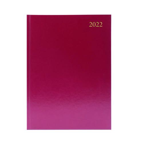 Desk Diary Week To View A4 Burgundy 2022 KFA43BG22