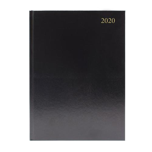 Desk Diary A4 Week to View 2020 Black (Reference calendar on each page) KFA43BK20
