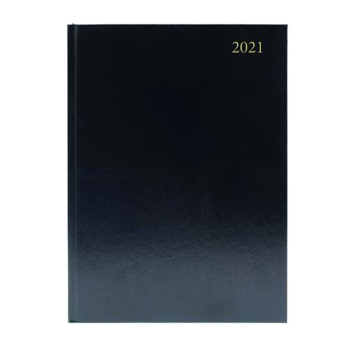 Desk Diary Week to View A4 Black 2021