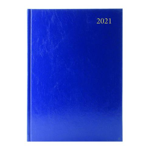 Desk Diary Week to View A4 Blue 2021